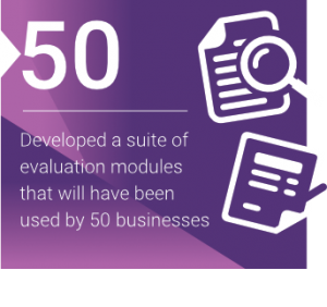 Developed a suite of evaluation modules that will have been used by 50 businesses